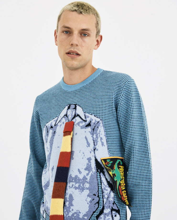 JW Anderson Turquoise Trompe L'Oeil Shirt and Tie Crew Neck Sweater KW03818F new arrivals AW 18 collection Machine A machine-a SHOWstudio mens jumpers sweaters wool streetwear