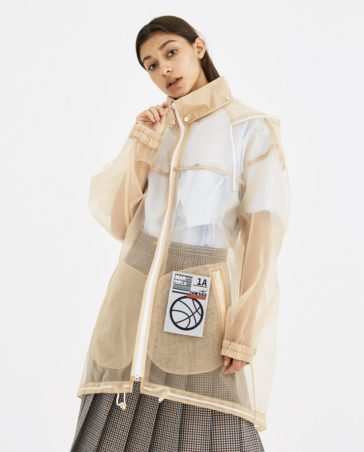Maison Margiela Translucent Sports Jacket ss18 coat raincoat see through transpaprent translucent cream patch basketball hood machine-a showstudio