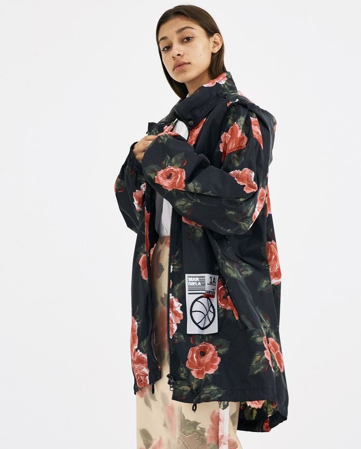 Maison Margiela Translucent Sports Jacket ss18 coat raincoat black floral flowers red pink patch basketball hood machine-a showstudio