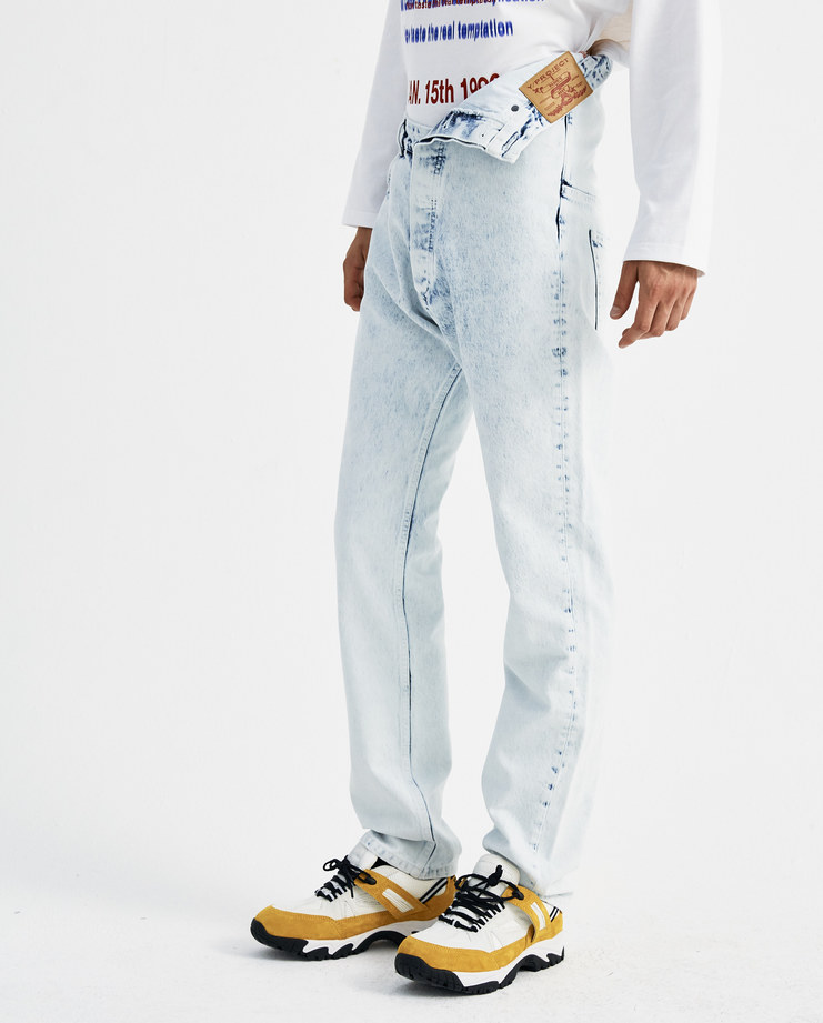 Y/PROJECT White High Waisted Asymmetric Bleached Jeans JEAN11-S15 new collection AW 18 y project denim trousers Machine-A machine a SHOWstudio mens high rise bleached jeans