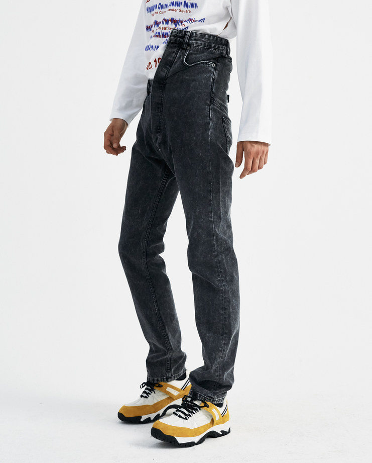 Y/PROJECT Black High Waisted Asymmetric Bleached Jeans JEAN11-S15 new collection AW 18 y project denim trousers Machine-A machine a SHOWstudio mens high rise bleached jeans