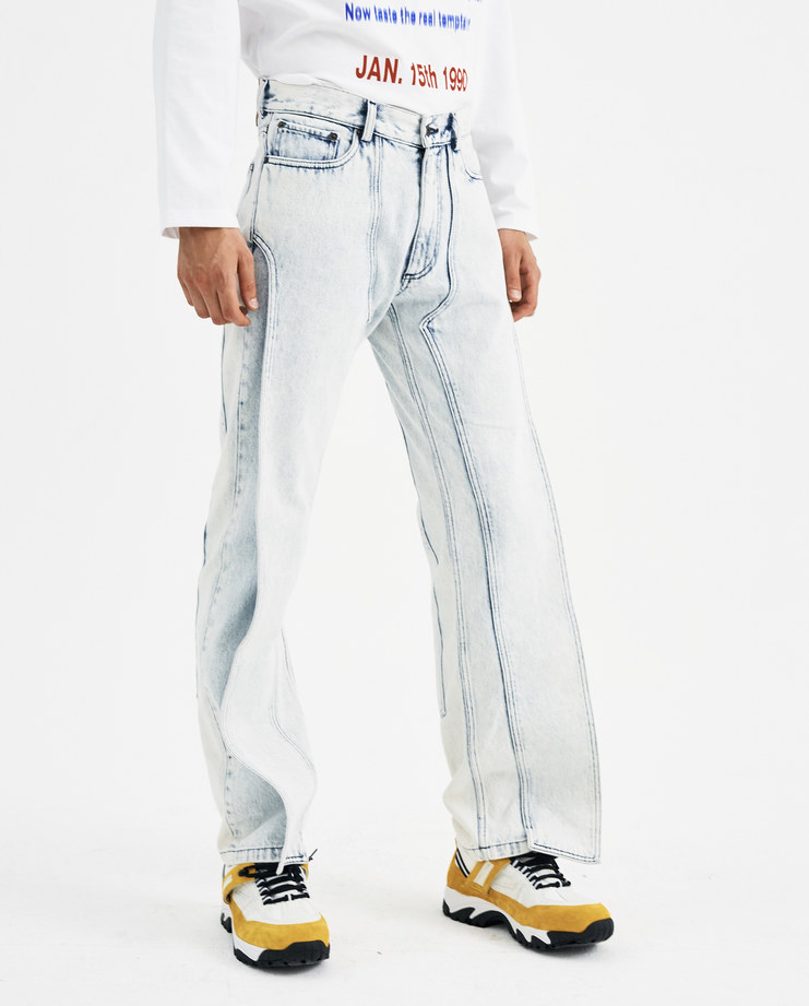 Y/PROJECT White XL Pocket Denim Trousers JEAN13-S15 new collection AW 18 Machine A machine-a SHOWstudio menswear white bleached jeans