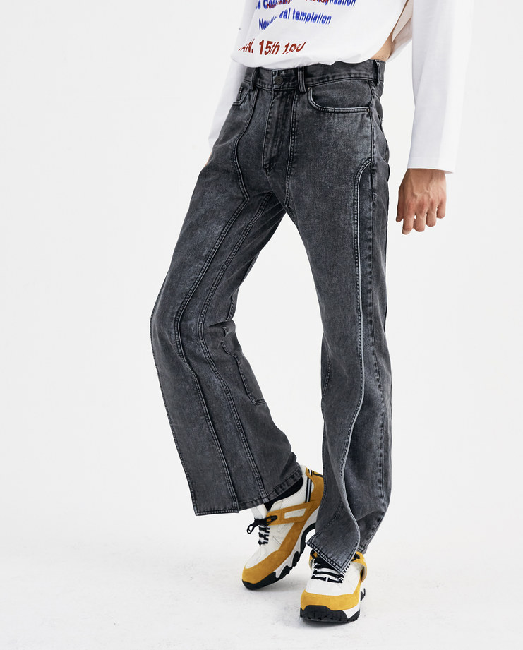 Y/PROJECT Black XL Pocket Denim Trousers JEAN13-S15 new collection AW 18 Machine A machine-a SHOWstudio menswear bleached jeans