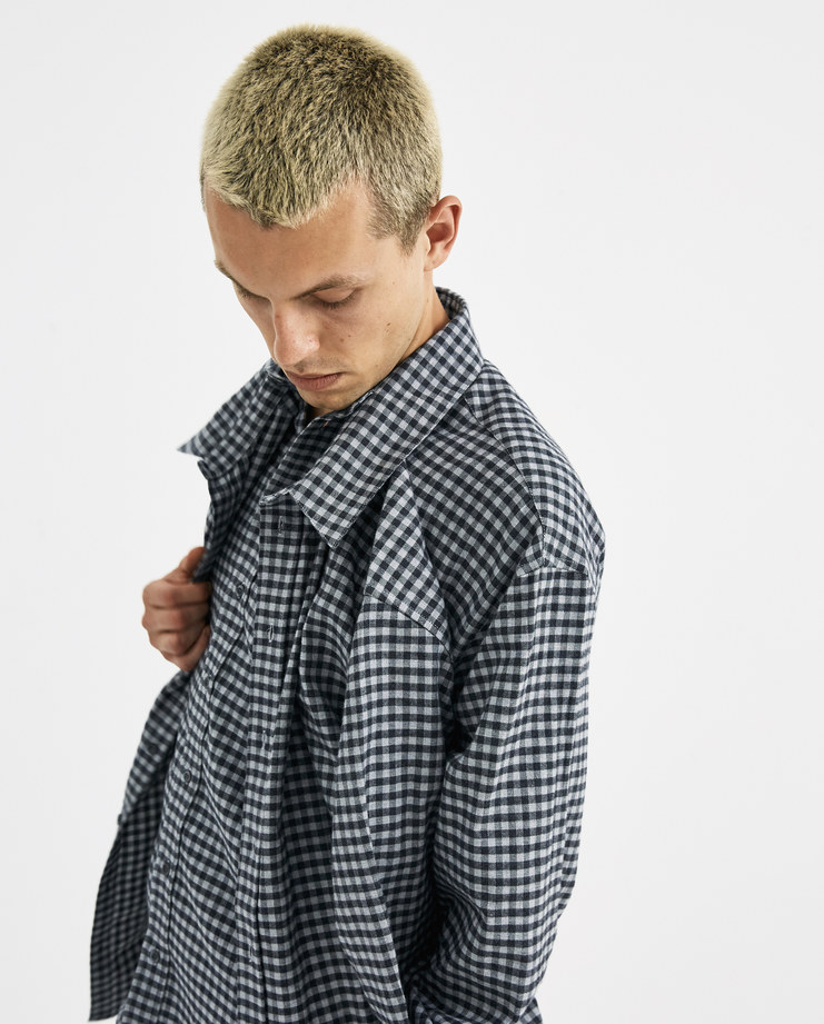 Y/PROJECT Grey Double Front Shirt SHIRT18-S15 new collection machine-a Machine A SHOWstudio menswear AW 18 collection mens checked shirts double shirt two shirts y project