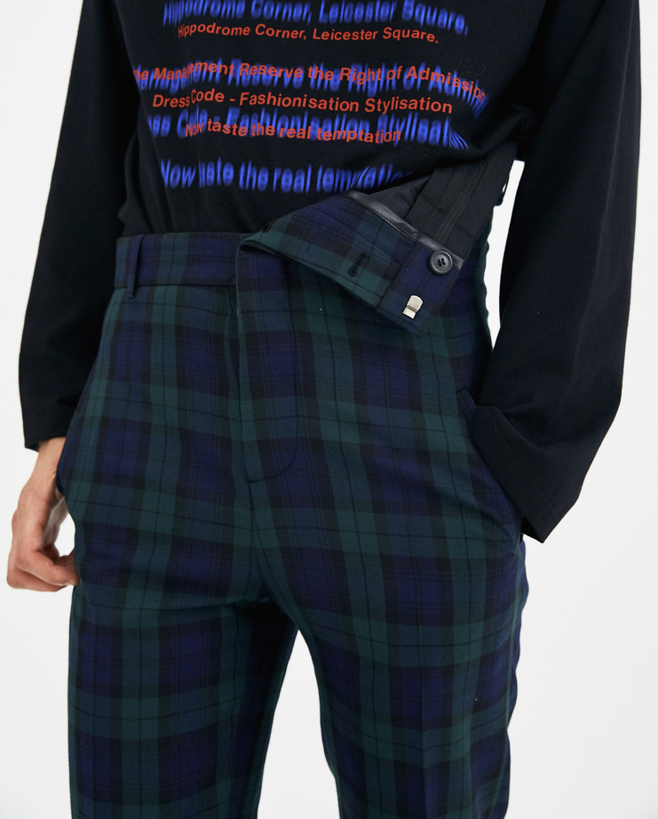 Y/PROJECT Checked Asymmetric Waist Trousers PANT28-S15 new collection AW 18 y project Machine A machine-a SHOWstudio blue and green checks tartan pants menswear mens