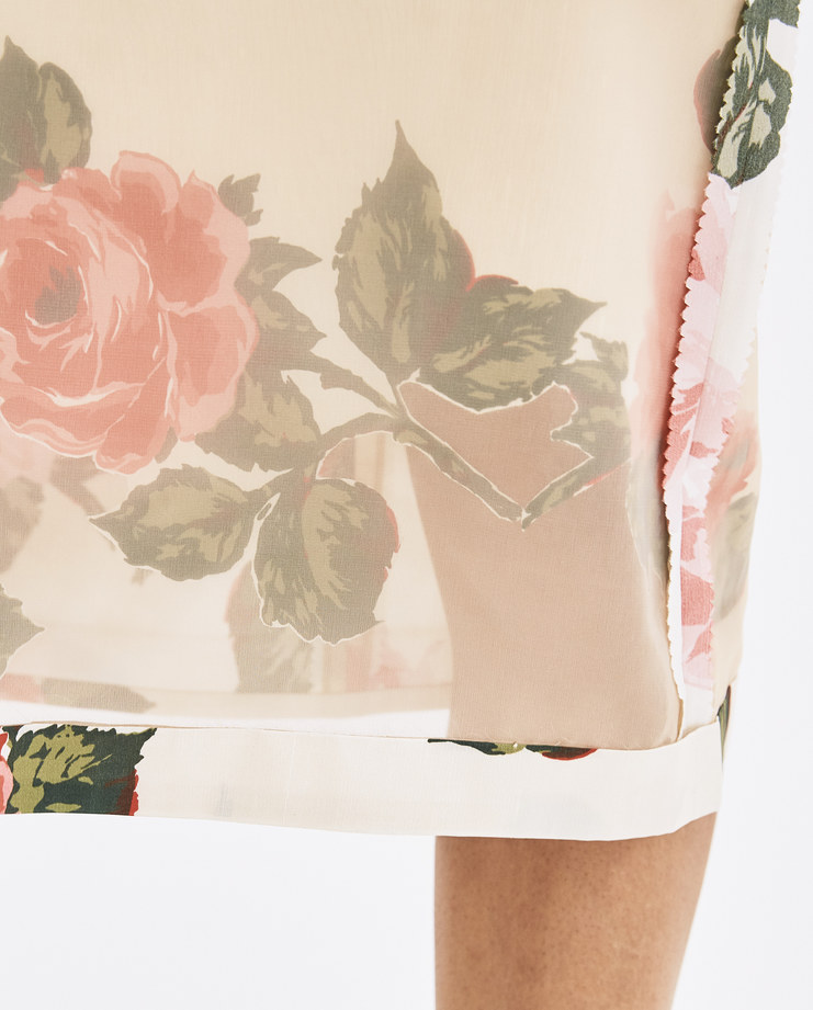Maison Margiela Beige Organza Flower Printed Skirt S29MA0338 skirts SS 18 collection Machine-A SHOWstudio skirts cut-out rose roses printed skirts womens