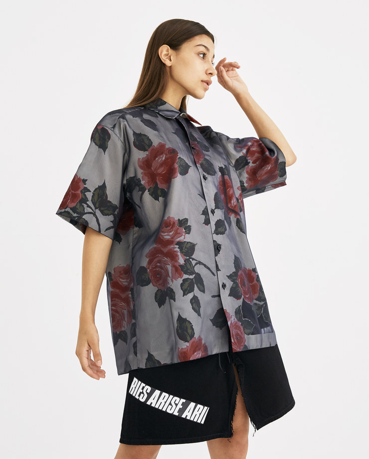 Maison Margiela Beige Organza Flower Printed Skirt S29DL0129 shirt SS 18 collection Machine-A SHOWstudio top cut-out rose roses printed tops womens orgnaza