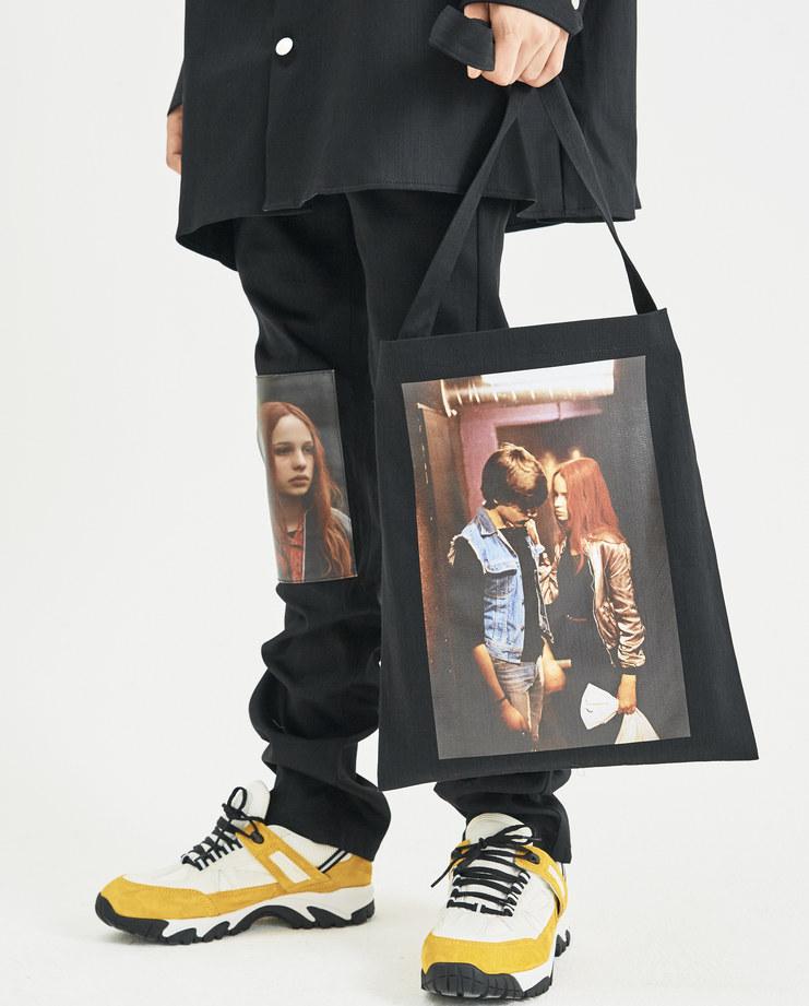 Raf Simons X Christiane F Black Couple Print Tote Bag Machine-A Machine A SHOWstudio A/W18 tote bags print Berlin Bahnhof Zoo RAF