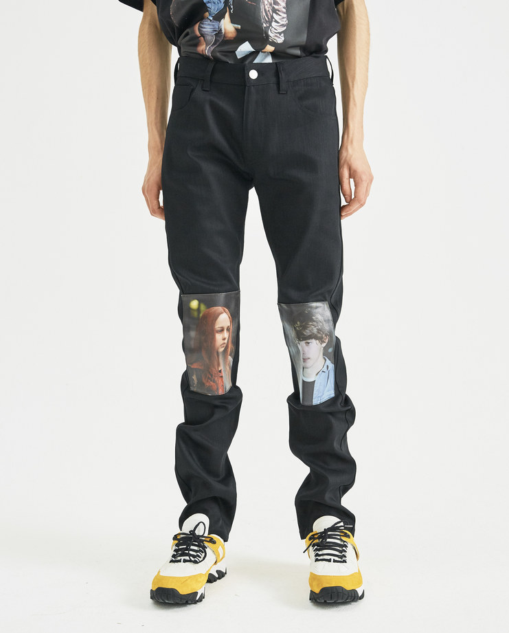 Raf Simons X Christiane F Black Jeans with Knee Patches Machine-A Machine A SHOWstudio A/W18 regular fit jeans printed patches Berlin Bahnhof Zoo