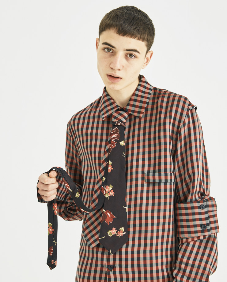 Delada Black Floral Print and Red Checked Double Tie Machine-A Machine A SHOWstudio new collection A/W 18 menswear suited dress up