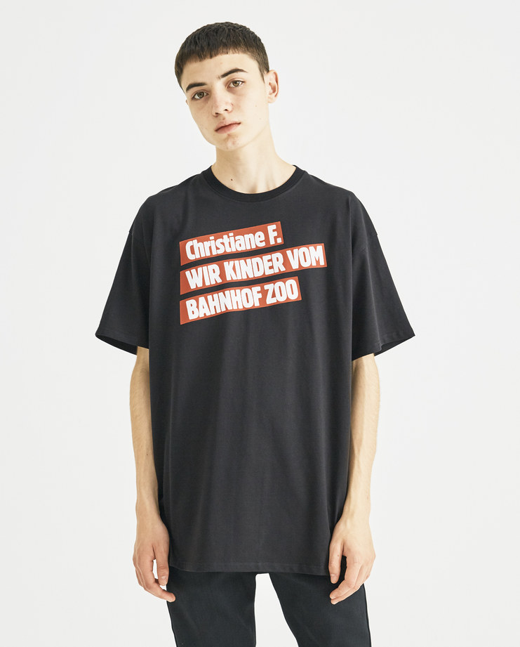 Raf Simons x Christiane F Black Kinder Bahnof Zoo T-Shirt  182-120C-19000-00099 new collection Christiane F Berlin Zoo Machine-A Machine A SHOWstudio menswear tee tshirt