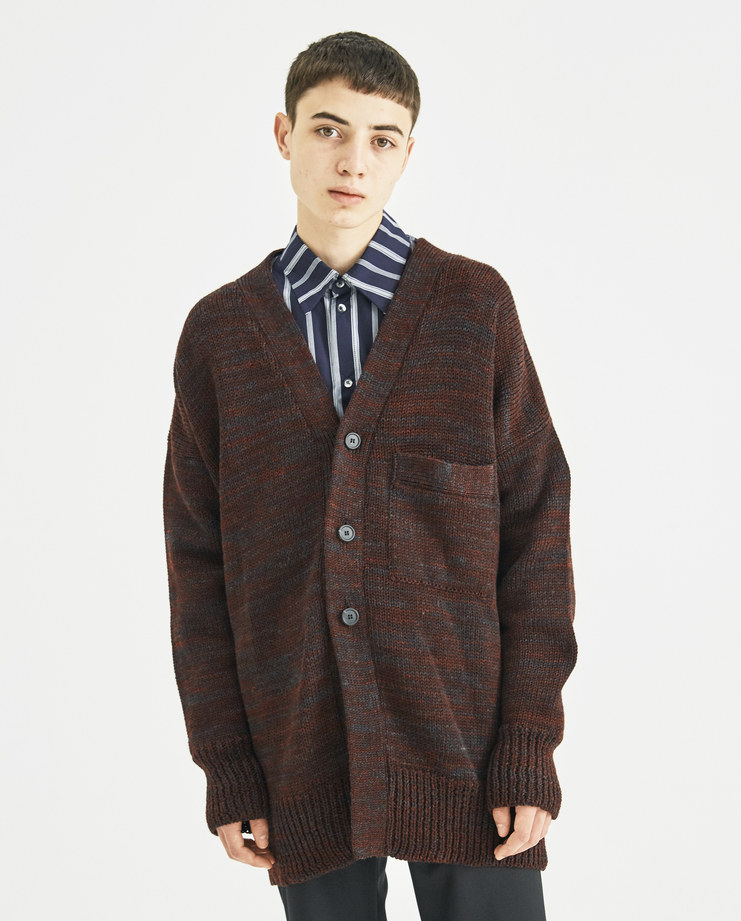 DELADA Brown Red Split Wool Cardigan A/W 18 Machine-A Machine A SHOWstudio new arrivals wool knit buttoned checked panel