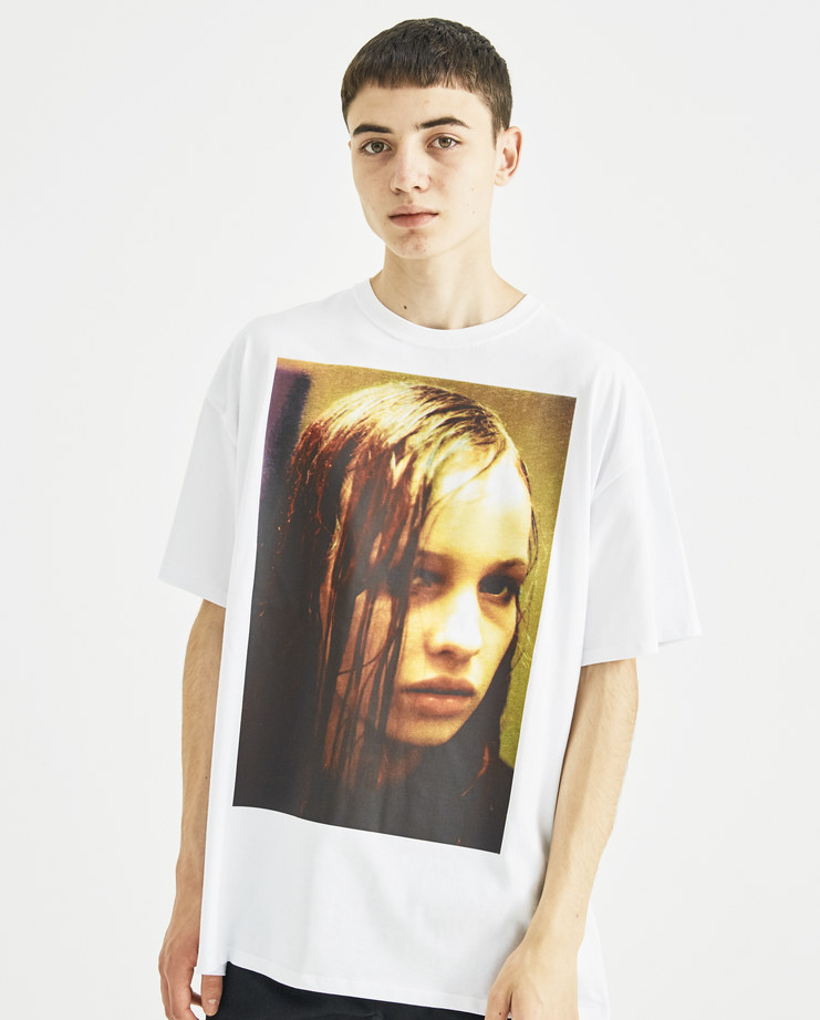 Raf Simons x Christiane F White Wet Hair Print T-Shirt new collection Christiane F Berlin Zoo drugs Machine-A Machine A SHOWstudio menswear tops