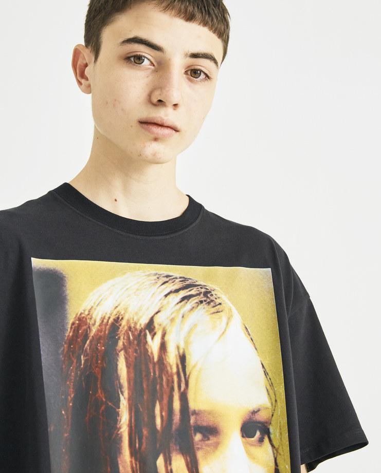 Raf Simons x Christiane F Black Wet Hair Print T-Shirt new collection Christiane F Berlin Zoo drugs Machine-A Machine A SHOWstudio menswear tops
