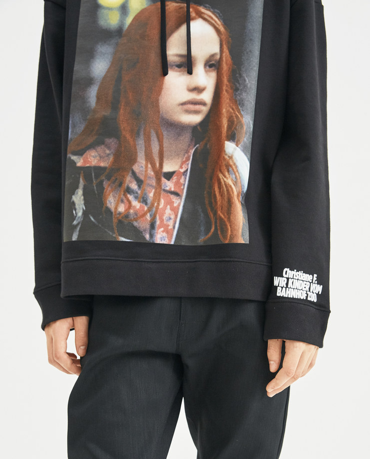 Raf Simons x Christiane F Black Classic Hoodie Christiane F and Detlef 182-140-19004-00099 new collection Berlin Zoo drugs addiction menswear hoodies