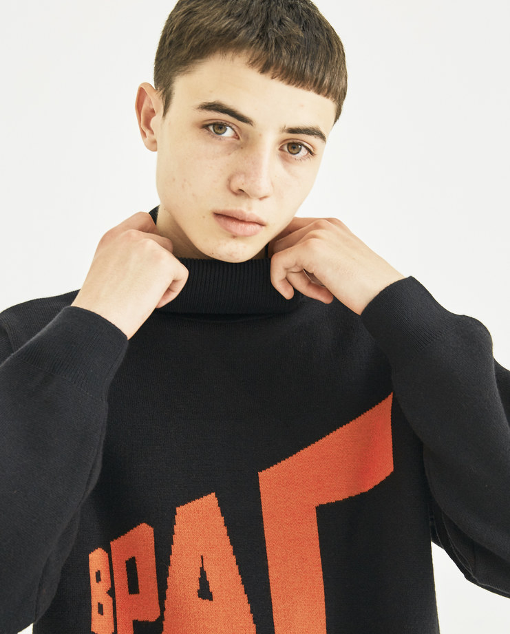 Gosha Rubchinskiy Black Graphic Knitted Sweater G013N004 new collection AW 18 autumn winter Machine-A Machine A SHOWstudio