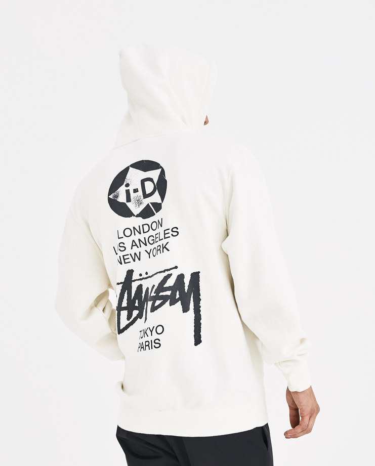 i-D x Stussy White i-D World Tour Hoodie Special Collection Merchandise Limited Machine-A Machine A SHOWstudio New Arrivals A/W 18