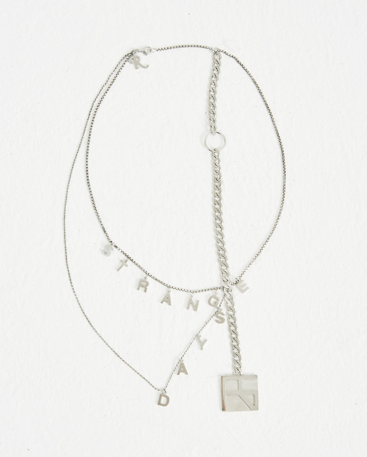 Raf Simons Silver Strange Day Necklace 182-945-46000-00082 AW 18 raf simon Machine-A Machine A SHOWstudio jewellery silver chain