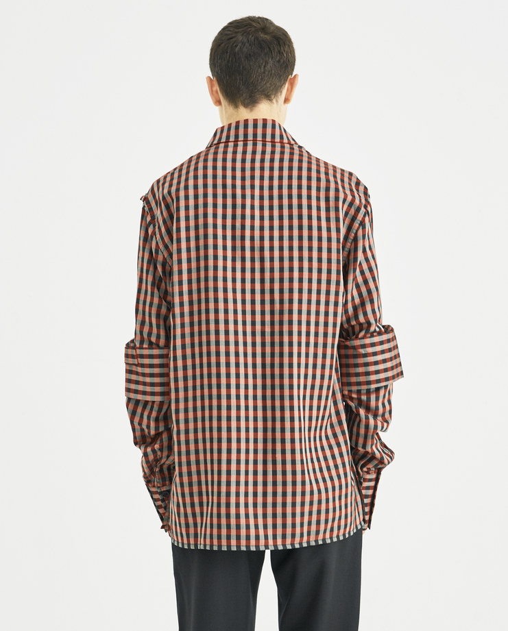 DELADA Red Checked Double Sleeve Shirt with Tie DM4SH3 new collection AW 18 Machine A Machine-A SHOWstudio shirts menswear