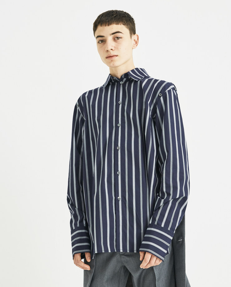 DELADA Navy Striped Half Shirt with Tie DM4SH4 new collection AW 18 Machine A Machine-A SHOWstudio shirts menswear