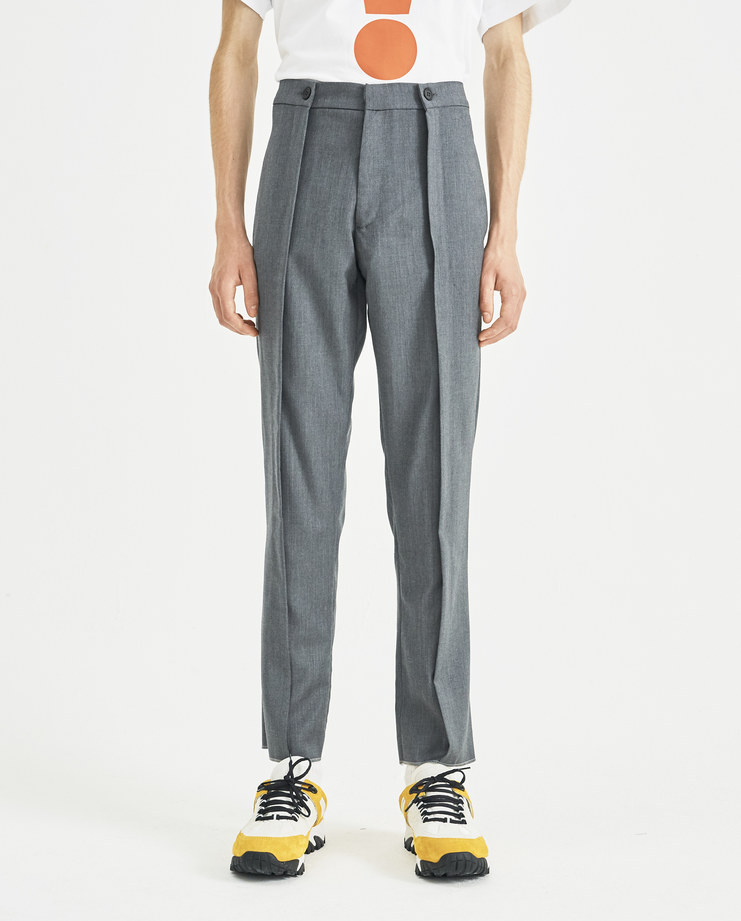 DELADA Grey Pleated Wool Trousers DM4TR4 new collection Machine-A Machine A SHOWstudio menswear pleates trouser pants mens smart