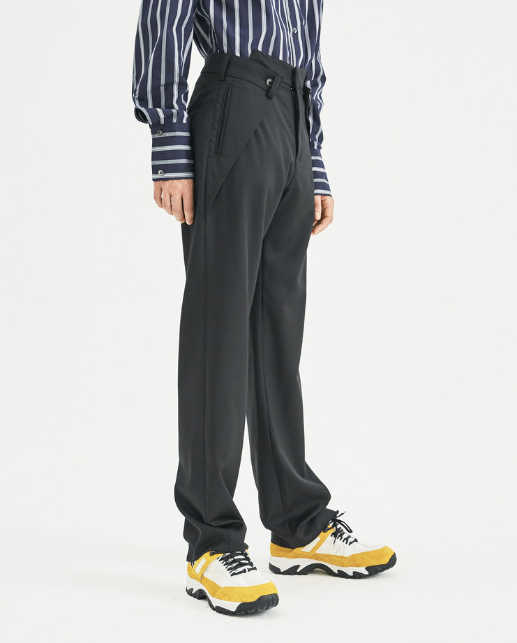 DELADA Black Wool Trousers with Folds DM4TR6 Machine-A Machine A SHOWstudio menswear pleates trouser pants mens smart