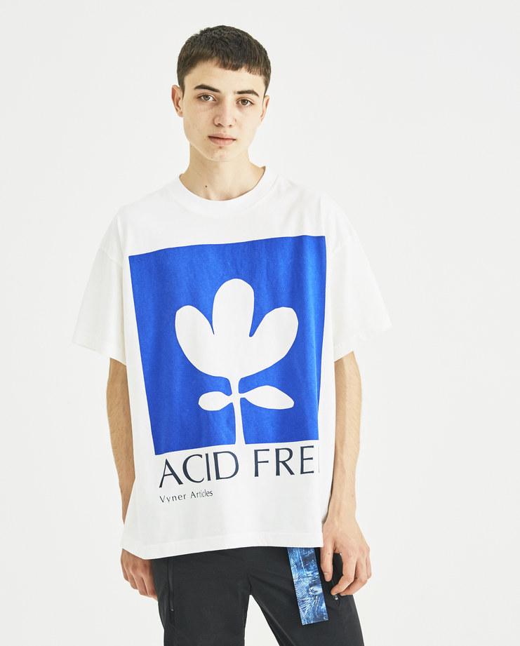 Vyner Articles White and Blue Printed Jersey T-Shirt 0A03 vyner studio Machine A Machine-A SHOWstudio menswear print tee logo tshirt