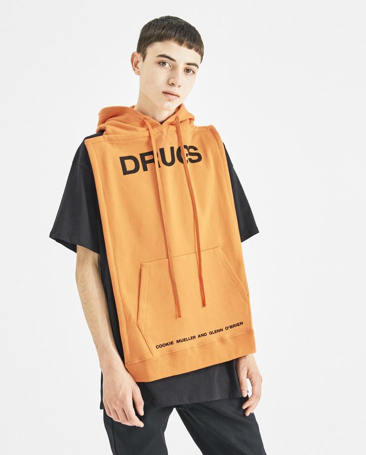 Raf Simons Orange Panel Drugs Hoodie A/W 18 Machine-A MachineA SHOWstudio Rafsimons Backless Hood Sweater Sweat Antwerp Fall Collection 2018