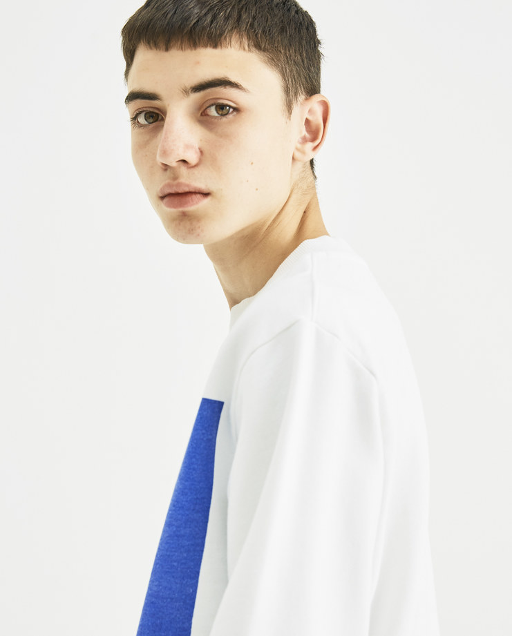 Vyner Articles White and Blue Printed Sweatshirt 0A08 vyner studio Machine-A Machine A SHOWstudio menswear print tee logo jumper sweater