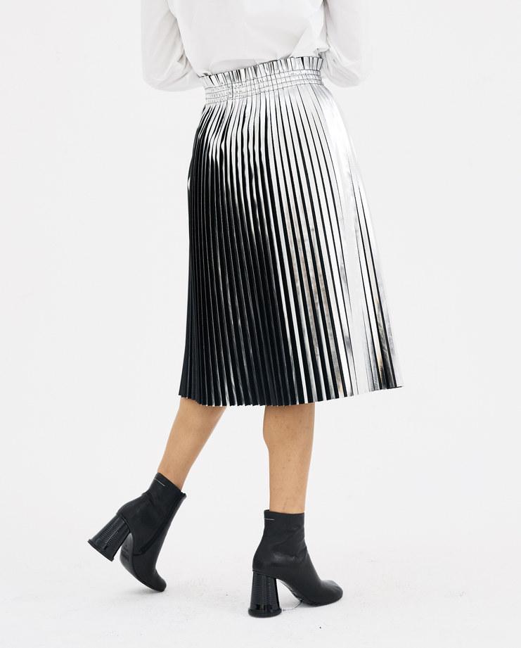 MM6 Silver Pleated Skirt S52MA0047 autumn winter collection 18 maison margiela shiny pleates skirts Machine-A Machine A SHOWstudio womenswear