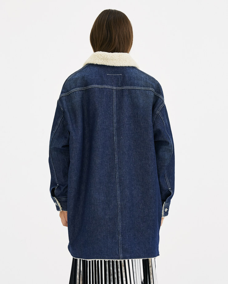 MM6 Oversized Denim Sport Jacket S52AM0078 maison margiela autumn winter 18 Machine-A Machine A SHOWstudio navy blue coat shearling womenswear