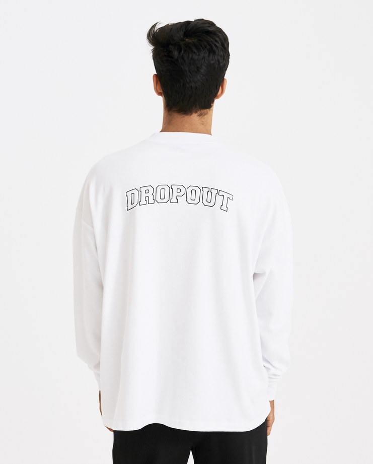 ALYX White Long Sleeve Drop Out T-shirt Machine-A Machine A SHOWstudio A/W 18 white graphic print tee