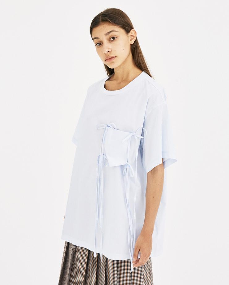 MM6 Light Blue Bow Pocket Top S32NC0547 autumn winter 18 maison margiela machine-A Machine A SHOWstudio womenswear t-shirt tops tshirt