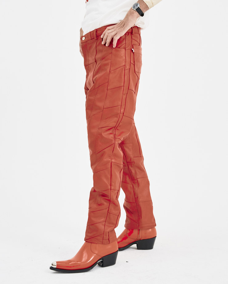 Martin Asbjørn Red Leather Patchwork Jeans Machine-A Machine A SHOWstudio A/W 18 patch work trousers martin asbjorn