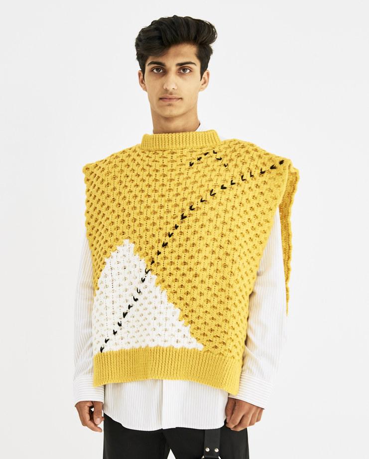 Raf Simons Yellow Turtleneck Special Stitch Machine-A Machine A SHOWstudio Virgin Wool Backless Turtle neck rafsimons
