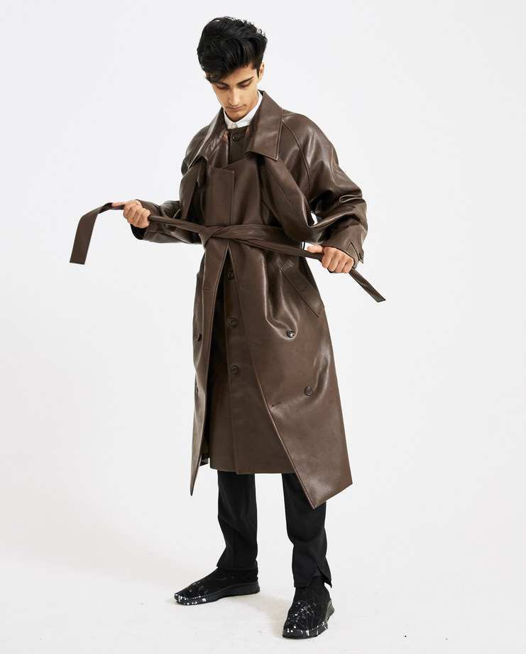 Y/PROJECT Brown Double Front Trench Coat Machine-A Machine A SHOWstudio Glenn Martens A/W18 layered double sleeve buttoned oversize trench