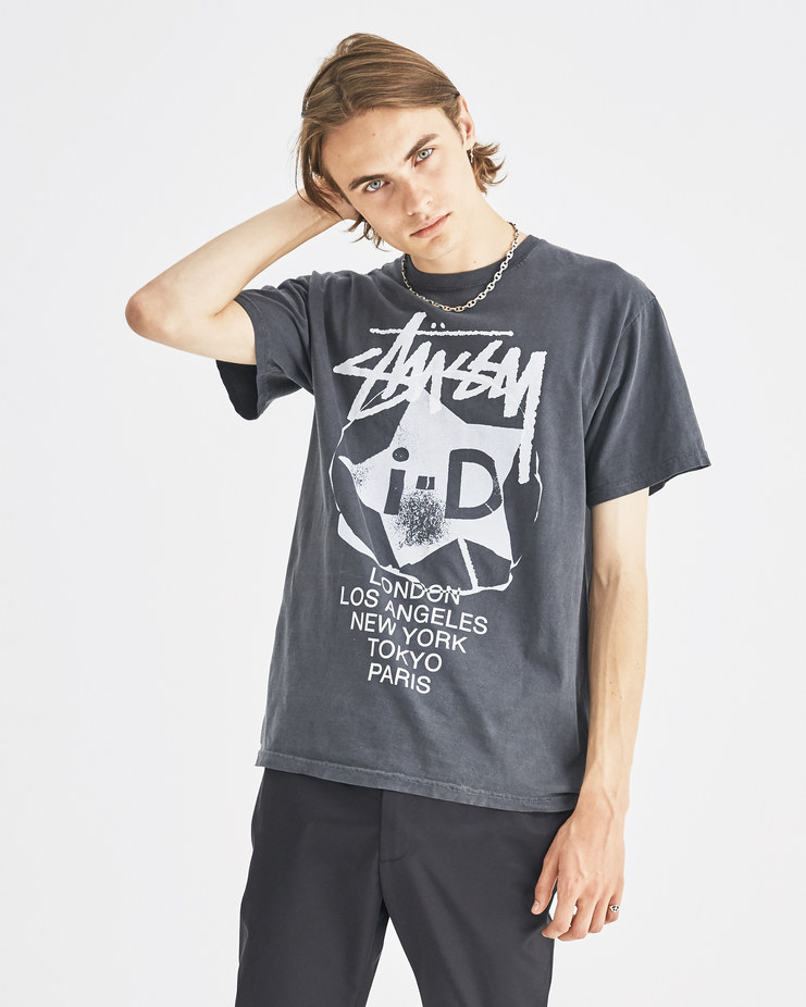 i-D x Stüssy Black i-D International T-Shirt 3903315 limited edition capsule collection in collaboration iconic streetwear brand Machine-A SHOWstudio unisex tee t-shirts stussy