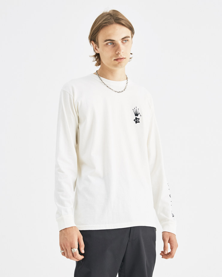 i-D x Stüssy White i-D Heritage Long Sleeve Top 3993313 limited edition capsule collection in collaboration iconic streetwear brand Machine-A SHOWstudio unisex tee t-shirts