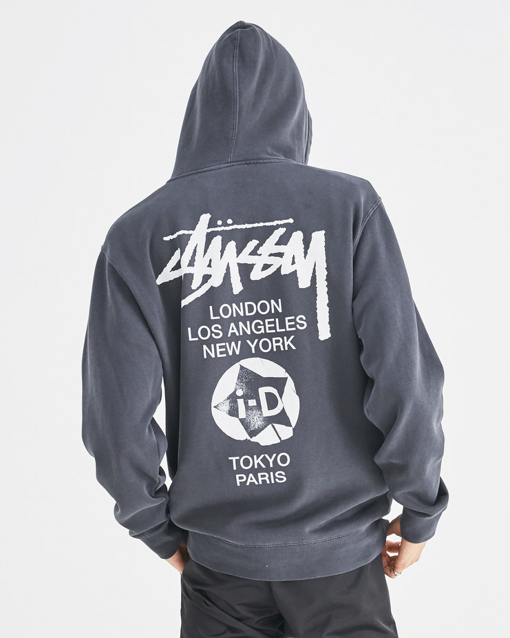 i-D x Stüssy Black i-D World Tour Hoodie Limited Edition Capsule Collection Merchandise Limited Machine-A Machine A SHOWstudio New Arrivals A/W 18 Stussy iD Magazine Sweater Sweat