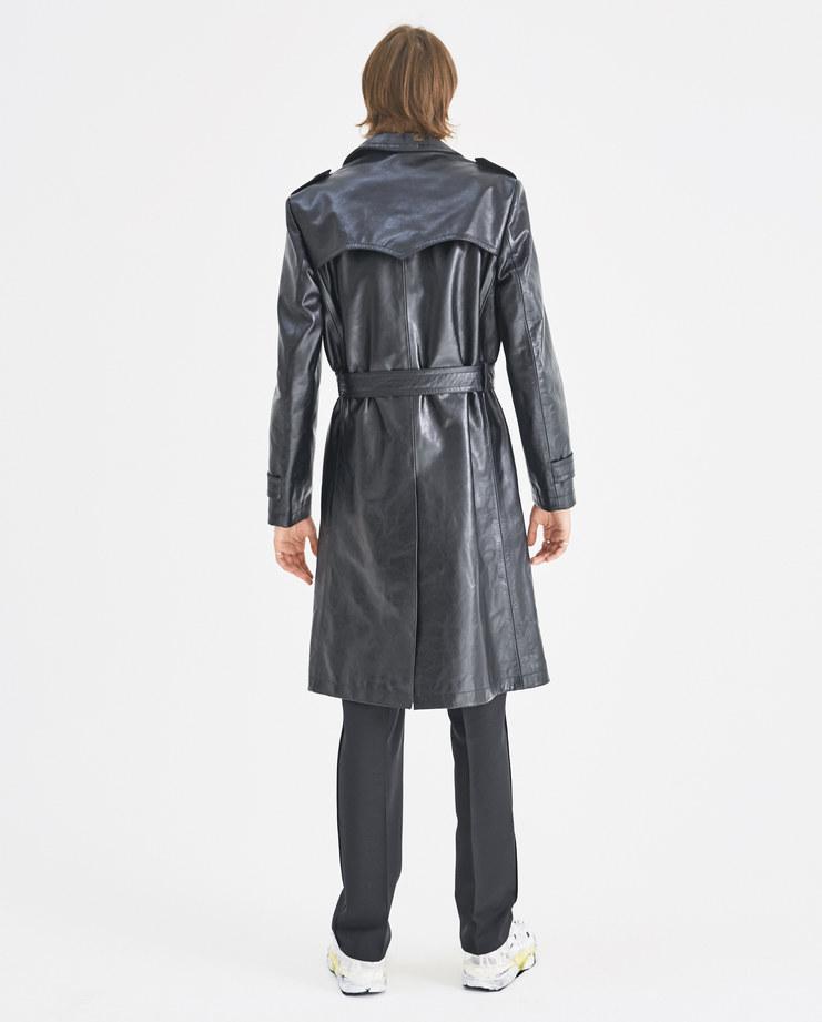 Maison Margiela Black Leather Trench Coat S50AH0047 Machine-A Machine A SHOWstudio A/W 18 buttoned coat