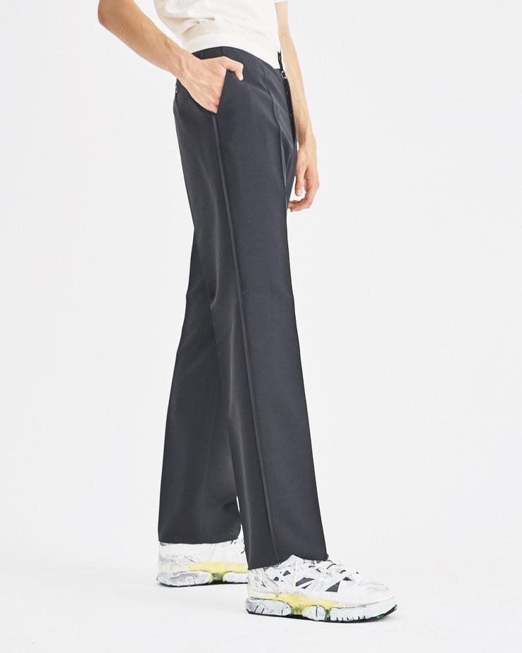 Maison Margiela Black Suit Trouser S50KA0416 Machine-A Machine A SHOWstudio A/W 18 white waistline four stripe logo stitch wool pants