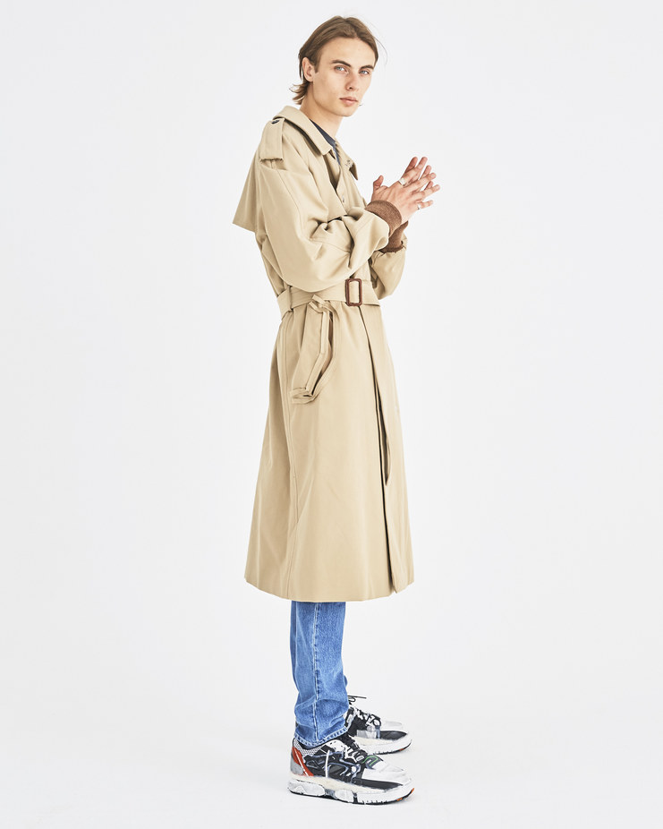 Maison Margiela Beige Trench Coat Machine-A Machine A SHOWstudio A/W 18 S50AH0045 menswear long trench jacket coats cream tan jackets