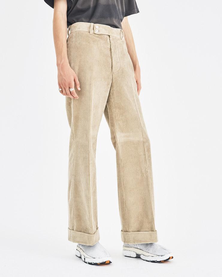 Maison Margiela Beige Corduroy Trousers S50KA0412 Machine-A Machine A SHOWstudio A/W 18 folded hem straight pants mm