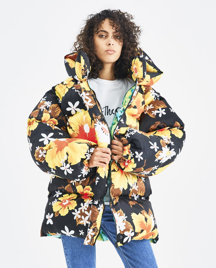 Richard Quinn Black and Yellow Hawaii Puffa Machine-A Machine A SHOWstudio A/W 18 hooded floral print orange puffer jacket coat