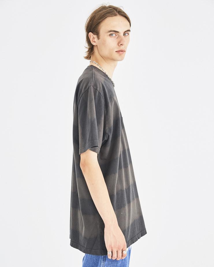 Liam Hodges Black Bleach Striped T-Shirt LH-AW18-111 autumn winter collection Machine-A Machine A SHOWstudio menswear tee tops tshirts