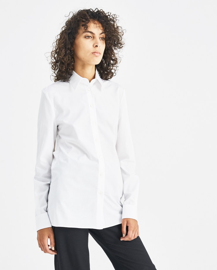 Maison Margiela White Cut Out Back Shirt S51DL0250 Machine-A Machine A SHOWstudio A/W 18 deconstructed classic buttoned shirt long sleeves