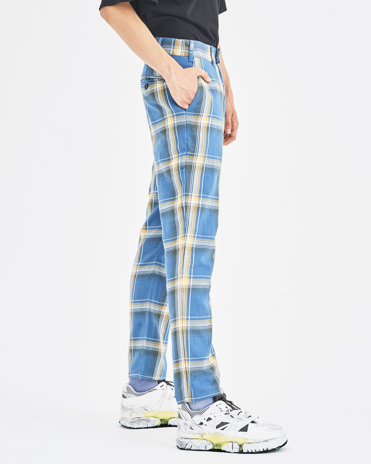 Liam Hodges Blue Slim Tartan Trousers Machine-A Machine A SHOWstudio A/W 18 LH-AW18-119 menswear pants checked trousers