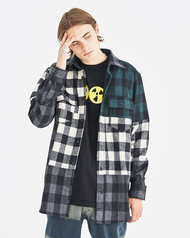 Liam Hodges Green Beetlejuice Oversized Shirt LH-AW18-103 autumn winter collection Machine-A Machine A SHOWstudio menswear shirts