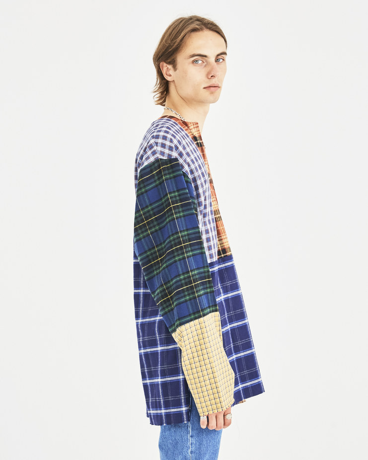 AMBUSH Nobo Patchwork Shirt Machine-A Machine A SHOWstudio A/W 18 multicolored tartan long sleeves longsleeve v-neck