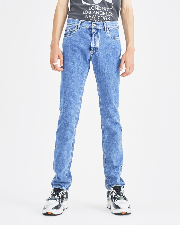 Maison Margiela Blue 5 Pocket Jeans S50LA0114 Machine-A Machine A SHOWstudio A/W 18 blue jeans denim straight leg distressed pocket